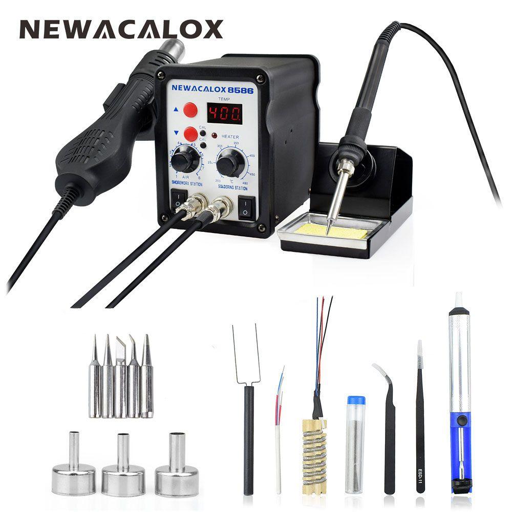 NEWACALOX 8586 220V/110V 700W Hot Air BGA Rework Soldering Station Electric Soldering Iron Kit Desoldering Gun DIY Welding Tools