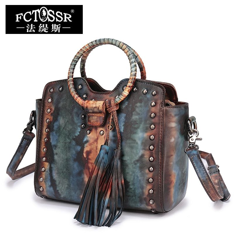 Guangzhou Handbag Leather Shoulder Bags Handmade Genuine Leather Round Handle Tote Vintage Cowhide Women's Handbags