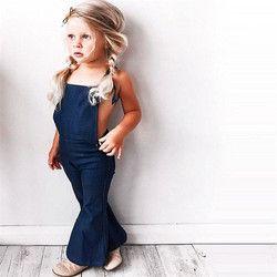 2018 Fashion Toddler Kids Baby Girl Sleeveless Backless Strap Denim Overall Romper Jumper Bell Bottom Trousers Summer Clothes
