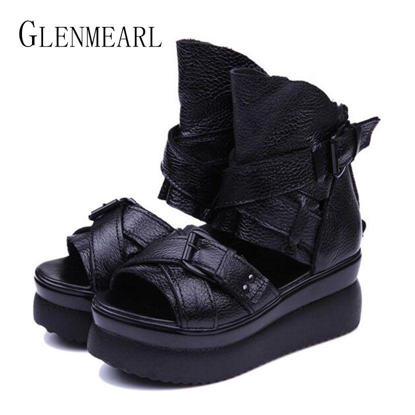 2019 été en cuir véritable femmes sandales plate-forme femmes chaussures talon compensé tête de poisson talons hauts sandales noires chaussures simples 20