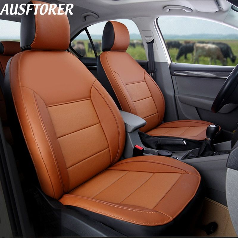 AUSFTORER Genuine Leather Custom Seat Covers for Volkswagen (VW) Caravelle T5 Automobiles Seat Cover 8&9 Seats Accessories 25PCS