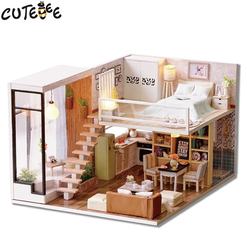 CUTEBEE Doll House Miniature DIY Dollhouse With Furnitures Wooden House Waiting Time Toys For Children Birthday Gift L020