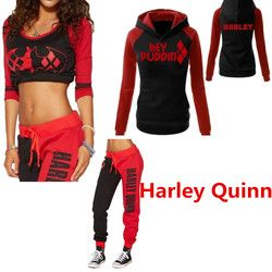 Commando Suicide Harley Quinn Dames Cosplay Costumes Sweat Shirts T-shirt Top Joggeurs Pantalon Sport Gym Pantalon Survêtement