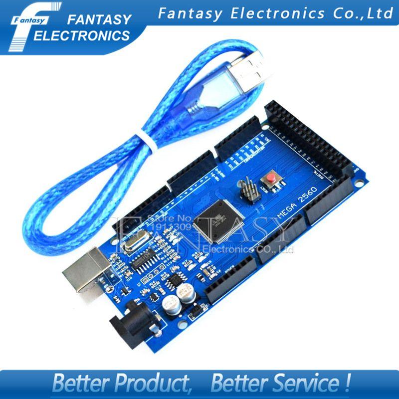 1 unids MEGA 2560 R3 ATmega2560 AVR placa USB + cable USB libre (ATMEGA2560/CH340) funduino 2560 nuevo Envío Libre