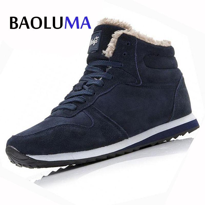 New Couple Unisex Super Warm Man Boot Fashion Men Winter Snow Boots Keep Warm Boots Plush Ankle Work Shoes Men Snow Boots 36-48