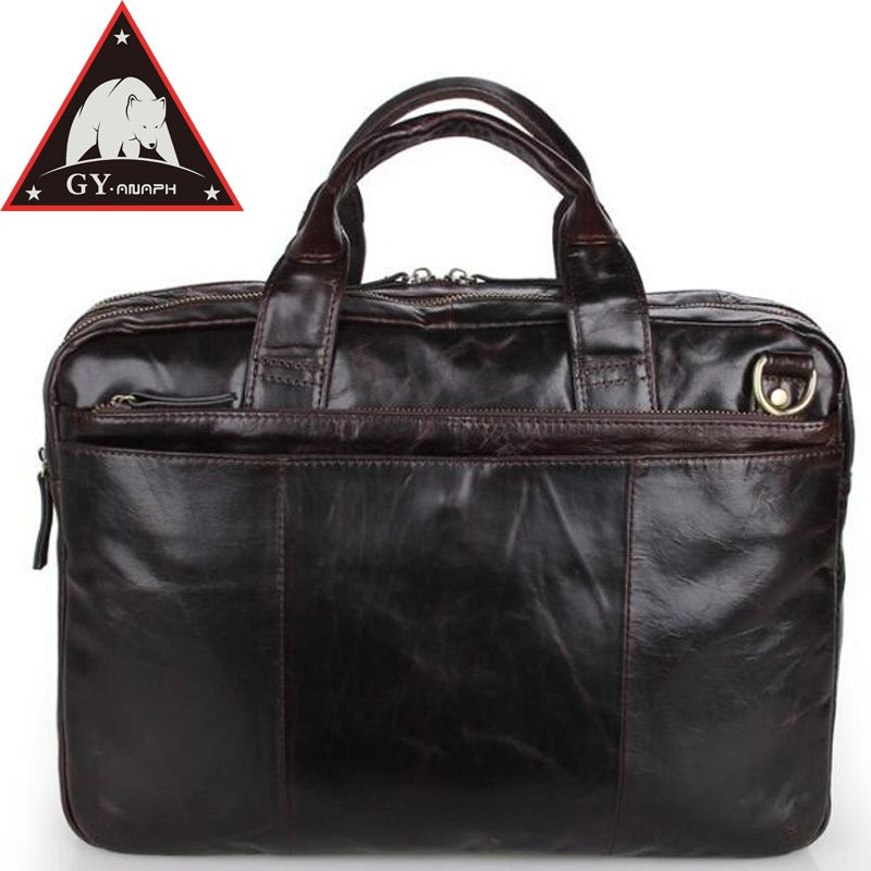 ANAPH Oil Waxy Leather Office Briefcases For Men/ Attache 15.6 Inch Laptop Case/ Documents Work Messenger Bags / Tote Bag/ Cafe