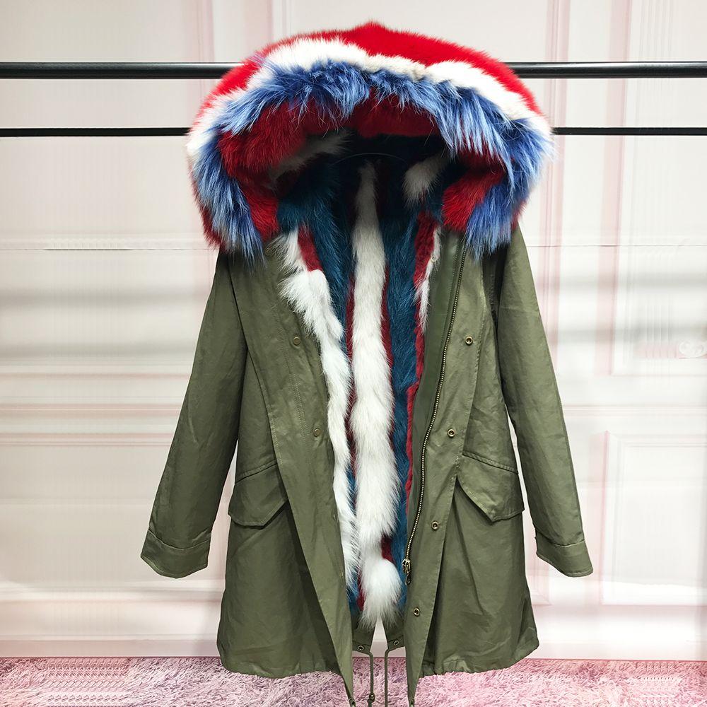 90 Real fox fur liner parka women natural fox fur collar hooded coats for winter Raccoon fur rabbit fur spliced liner detachable