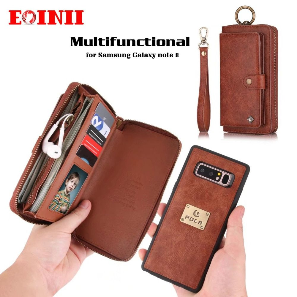 EOINII Luxury Genuine Leather flip zipper Multifunction wallet phone bag detachable cover Cases for Samsung Galaxy note 8 case