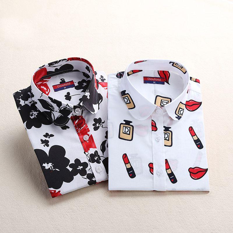 Dioufond Women Blouse Cotton Blusas Long Sleeve Plus Size Ladies Top Femme Cute Pattern Turn-down Collar Women Shirt Fashion