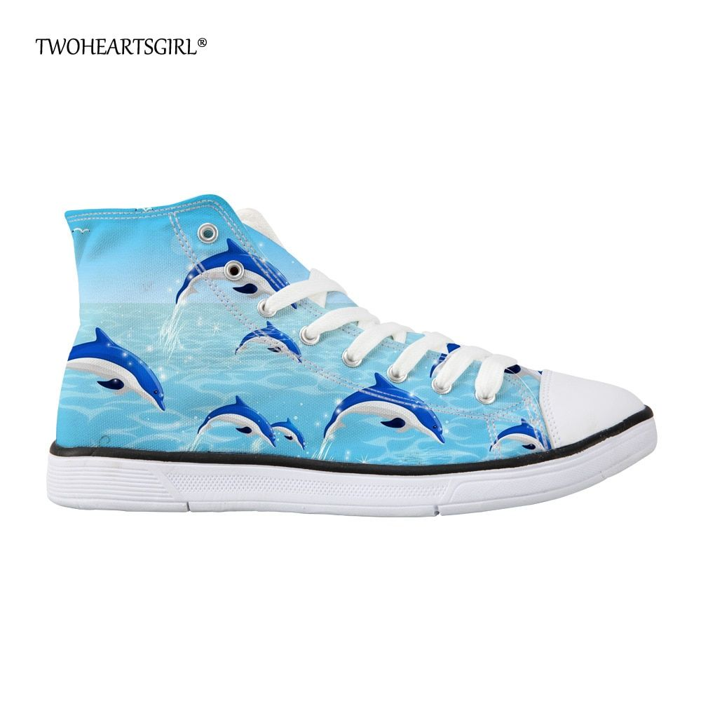 Twoheartsgirl Classic Dolphin High Top Canvas Shoes Casual Women's Vulcanize Shoes Fashionable Lace Up Shoes Flat Walking Shoes