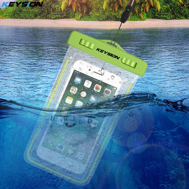KEYSION Bolsa Impermeable Con Luminoso Bajo El Agua Bolsa de la Caja Del Teléfono Para el iphone X 8 8 Plus 7 7 P 6 6 s Para Samsung Galaxy S8 S7 nota8