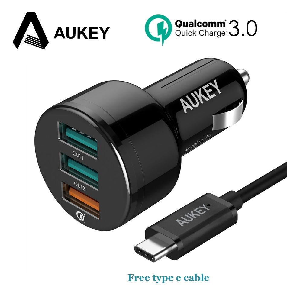 AUKEY 3 Ports Quick Charge 3.0 USB Car Charger with free type C cable Mini Car-Charger for <font><b>Xiaomi</b></font> 4x iPhone Samsung galaxy s8