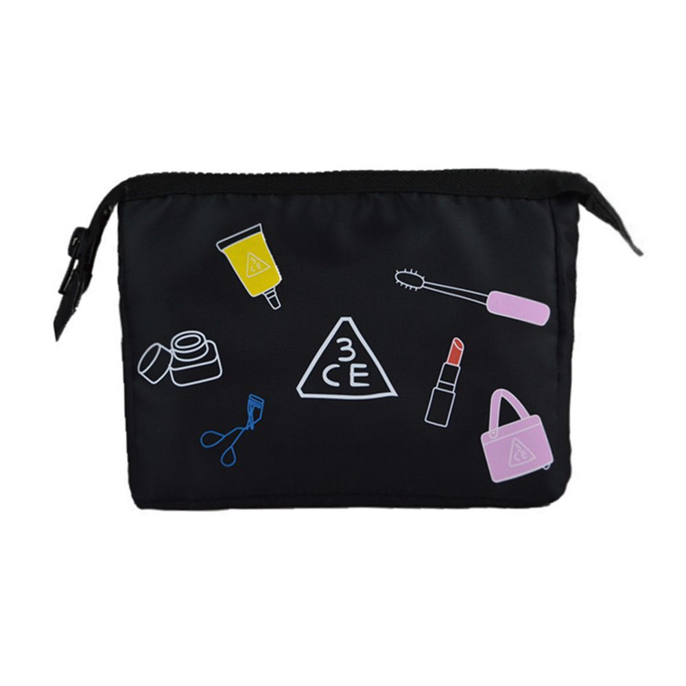 2017 New Style Women Fashion 3CE Polyester Ladies washbag foldable Girls Embroidery Cosmetic Bag maquilhagem Make up case
