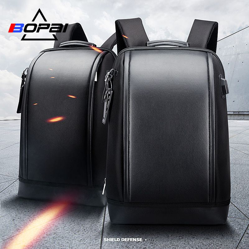 BOPAI Shell Shape Business Men's Office Work Backpack USB Charge <font><b>Cool</b></font> Male Leather Daypack Backpack Men's Shoulder Bags for Work