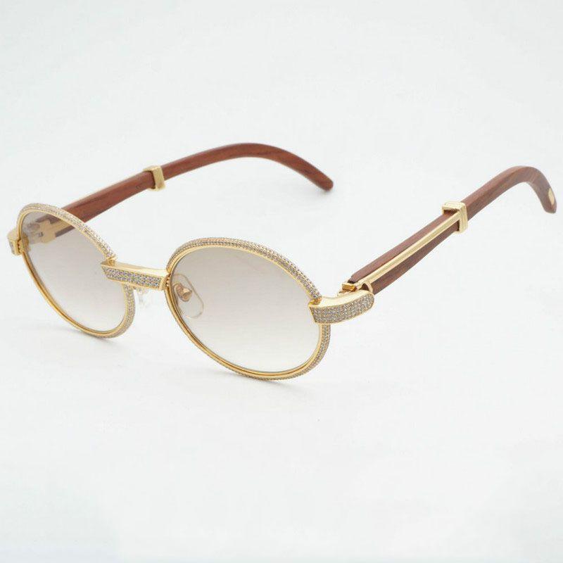 Luxury Diamond Sunglasses Wooden Eyeglasses Retro Shades Men Stone Sun Glasses Round Metal Rhinestone Glasses Frame Gafas