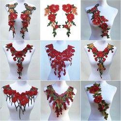 1Pc Red Color Venise Lace Fabric Dress Applique Motif Blouse Sewing Trims DIY Neckline Collar Costume Decoration Accessories