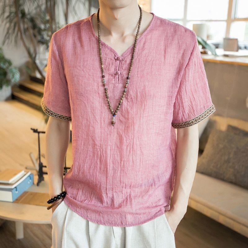 Chinese Style Men's Wear Imitation Flax Short Sleeved T-shirt, Men's Loose Summer Imitation Cotton And Linen, Retro Jacket, Thin