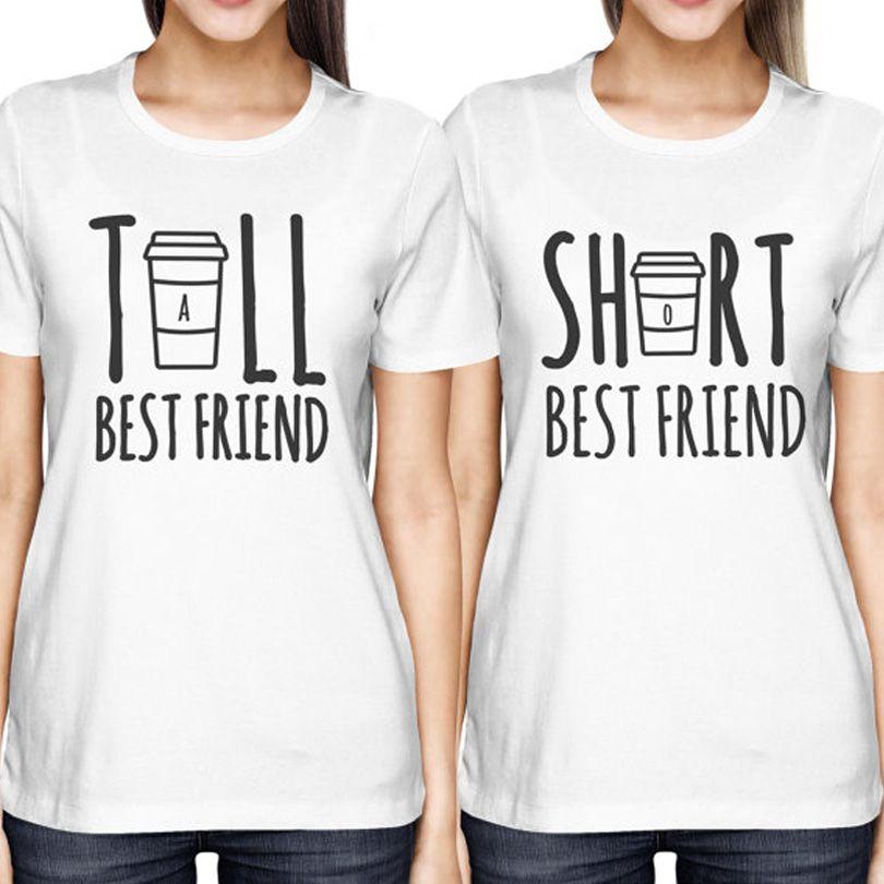 Cute Best Friend Tall and Short Matching T-Shirt BFF T Shirt Women For Coffee Lovers Tee Shirt Femme Cotton Size S-XXL