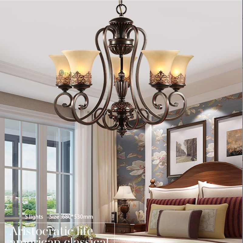 Chandelier 90-260V Light Glass Crystals For Chandeliers Heracleum Black Iron Arm Lamp Led Chandeliers