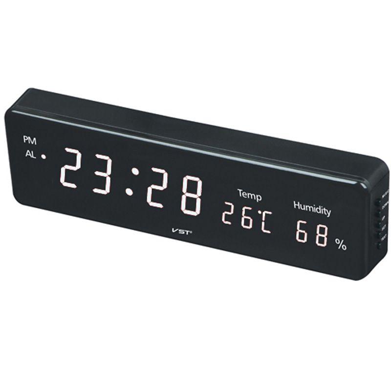 12/24 Hours Wall Clock ,1.8 Inch Large Number Led Display Temperature Humidity Table Clock EU/US Plug Kids Cube Desktop Clock