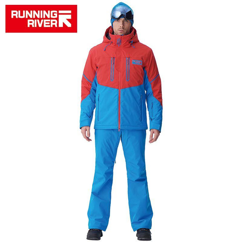 LAUF FLUSS Marke Männer Hohe Qualität Ski Jacke Winter Warm Mit Kapuze Sport Jacken Für Mann Professional Outdoor ANZUG # N6417O6457