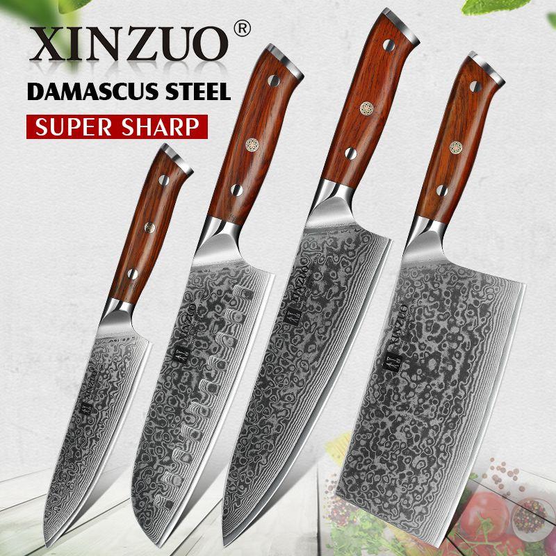 XINZUO 4PC Küche Messer Sets vg10 Core Damaskus Stahl Chef Santoku Utility Cleaver Messer Edelstahl Schneiden Fleisch Besteck
