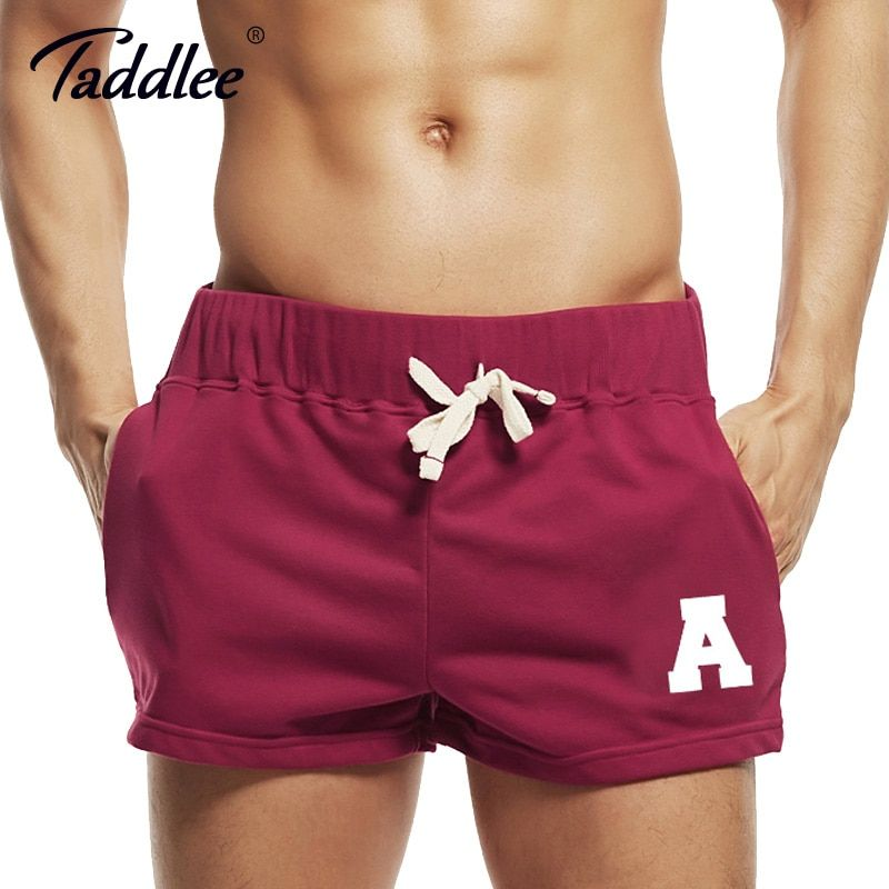 Taddlee Brand Sexy Men's Shorts Gay Short Shorts Cotton Pockets Low Rise Red Color Boxer Trunks Plus Size Cargo Sweatpants Men