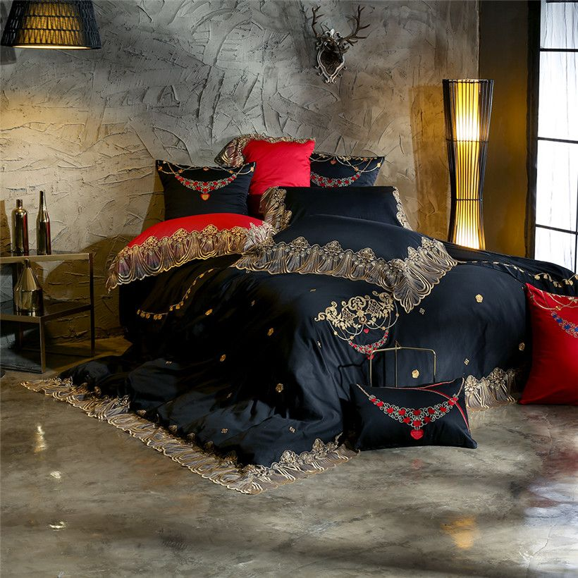Black Red Beige Luxury Egyptian cotton Wedding Bedding set Queen King size Embroidery Lace Duvet cover Bedsheet set Pillowcase