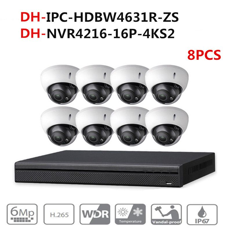 DH CCTV Kamera Sicherheit System Kit 8 PCS 6MP POE Zoom IP Kamera IPC-HDBW4631R-ZS 16POE 4 K NVR NVR4216-16P-4KS2 video überwachung