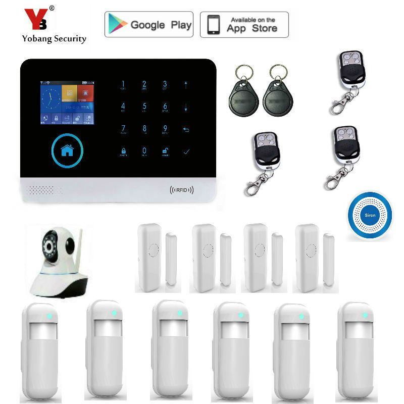 Yobang Security WIFI RFID GSM Home Security Alarm System With EN RU ES PL DE Switchable Touch Panel APP Remote Control alarm