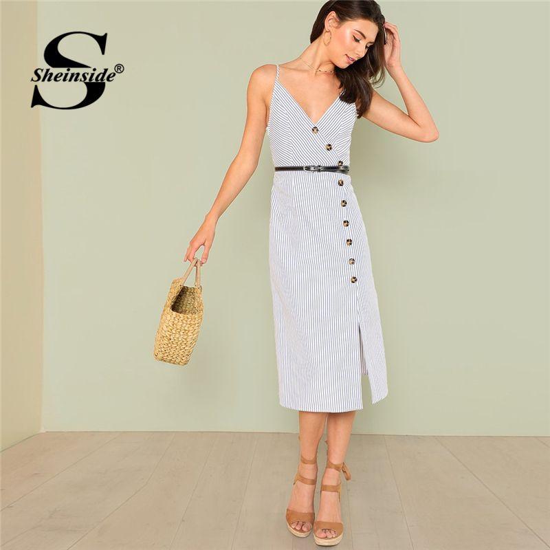 Sheinside Asymmetric Placket Striped Cami Dress Summer Side Split Spaghetti Strap Button Dress Women Casual <font><b>Work</b></font> Elegant Dress