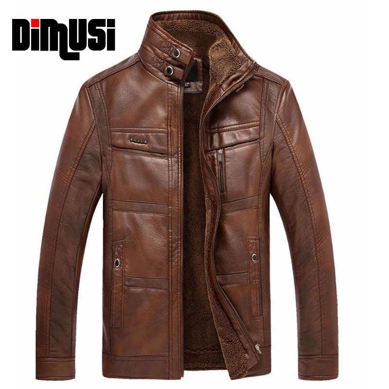 DIMUSI PU Leather Jacket Men Winter Leanther Jacket Solid Thick Coat Male Thermal Fleece Casual Stand Collar Clothing 5XL,YA512