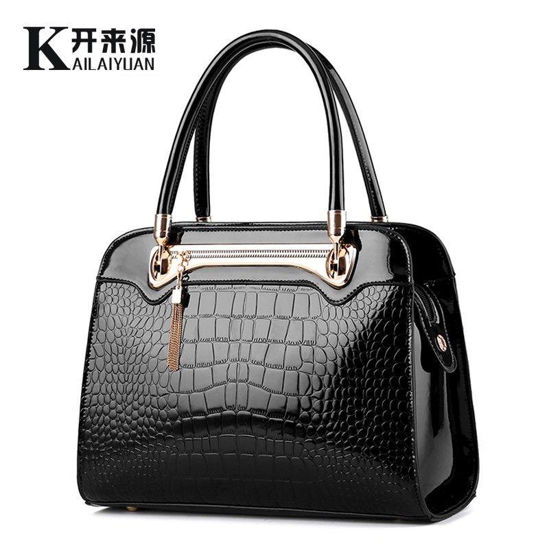KLY 100% Echtem leder Frauen handtaschen 2018 Neue Krokodil muster Mode Europäischen stil einzigen schulter tasche messenger handtasche