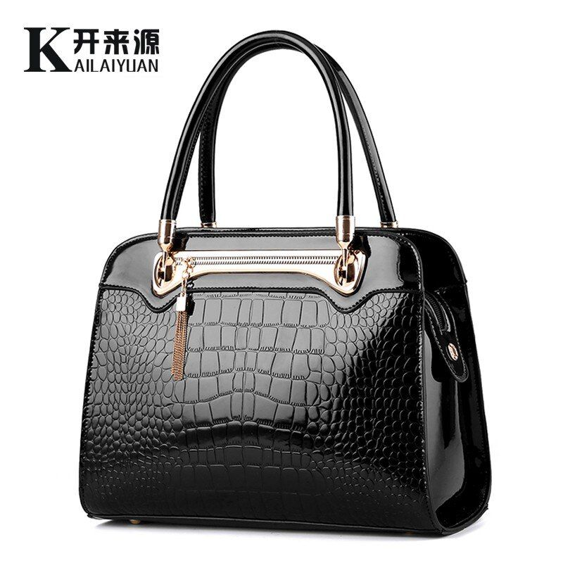 KLY 100% Genuine leather Women handbags 2018 New Crocodile pattern Fashion European style single shoulder bag messenger handbag