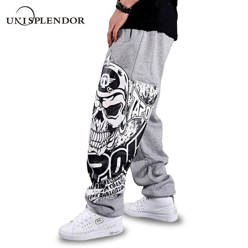unisplendor 2018 Autumn Hip Hop Style Men Casual Full Pants Black/Gray Print Skull Fashion Loose Big Size Long Trousers YN375