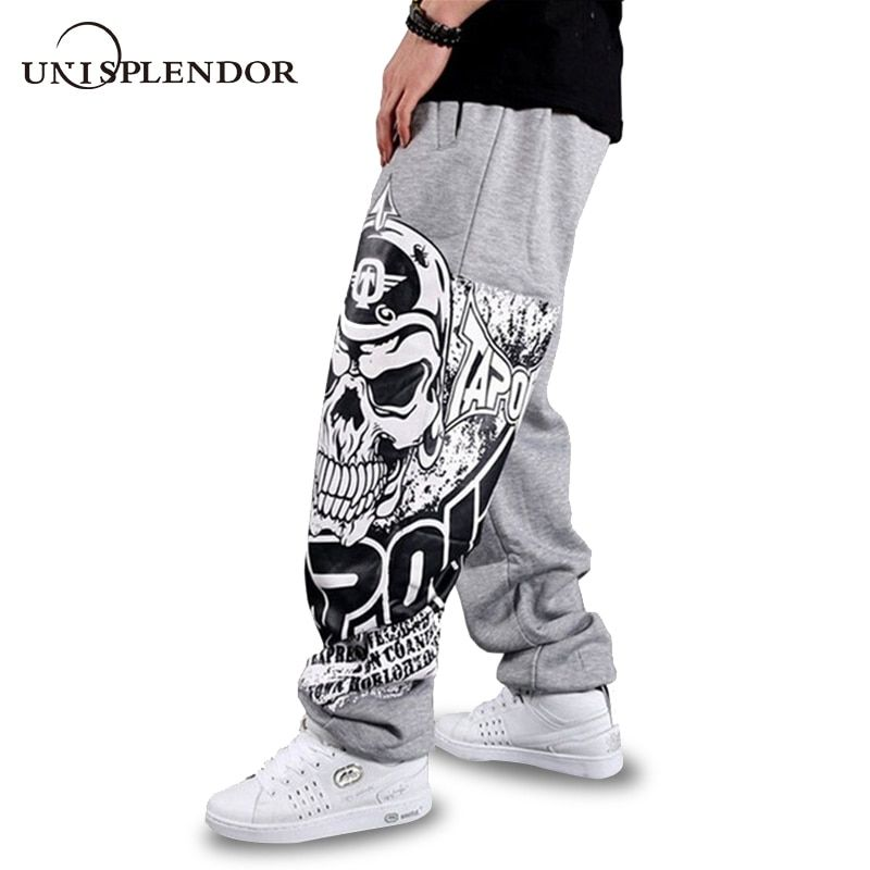 unisplendor 2018 Autumn Hip Hop Style Men Casual Full Pants Black/Gray Print Skull Fashion Loose Big Size Long Trousers YN375
