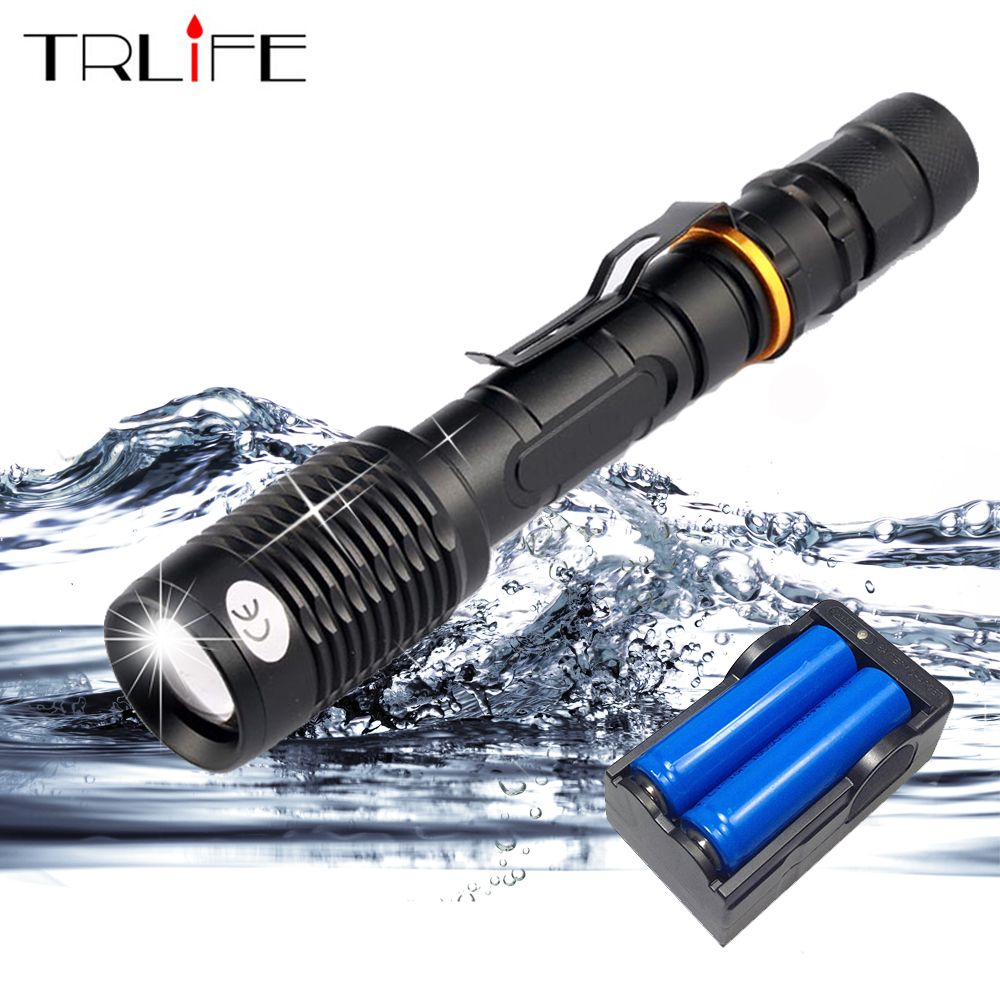 Super Bright 8000 Lumen L2/T6 LED Flashlight <font><b>Torch</b></font> Lamp Tactical 5 Modes Waterproof Zoomable Flash Light Use 2x18650 Battery