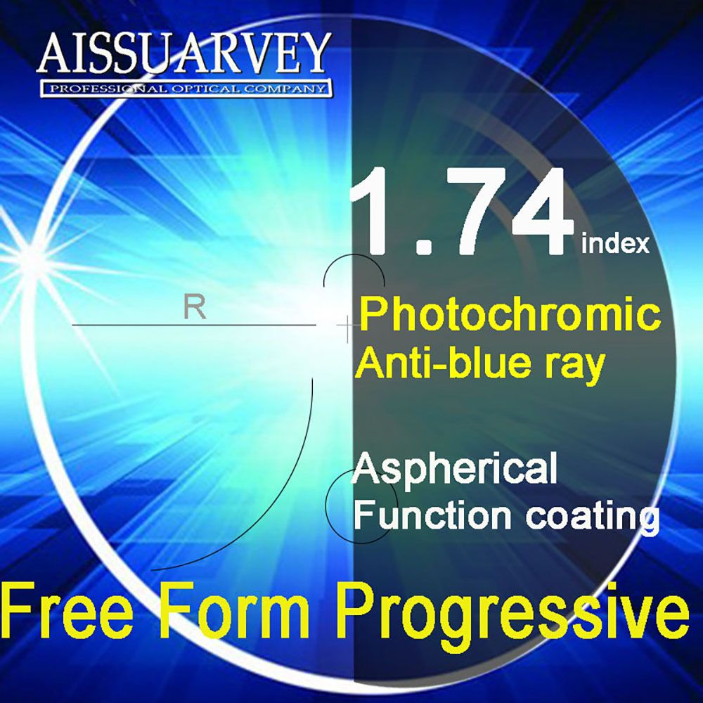 1,74 Index Freies Form Gleitsichtgläser Anti-blue Ray Photochrome Multifocal Asphärische Bifokale Lesen Top Qualität Klaren Grauen