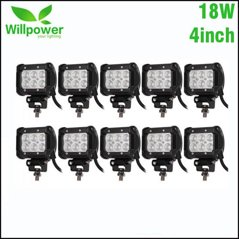 10PCS 4 Inch 18W 36W LED Light Bar Work Light Bar For Off Road 4x4 4WD ATV UTV SUV Motorcycle Truck Auto Tractor Boat Car