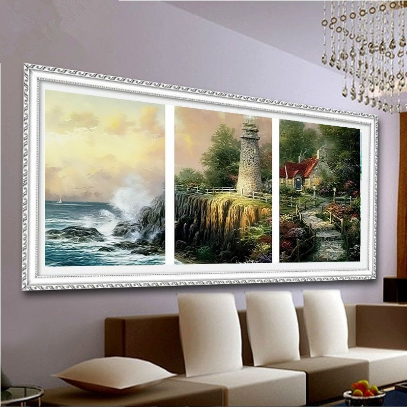 drawing coloring by numbers scenery <font><b>pictures</b></font> paintings for living room wall 40X50X3 set hand painted oil canvas painting R3019