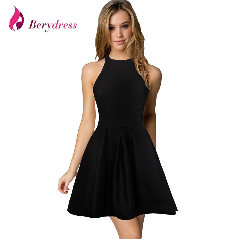Berydress nouveauté femmes mignon mariage Cocktail Sexy discothèque licou cou noir a-ligne robe noire courte 2017