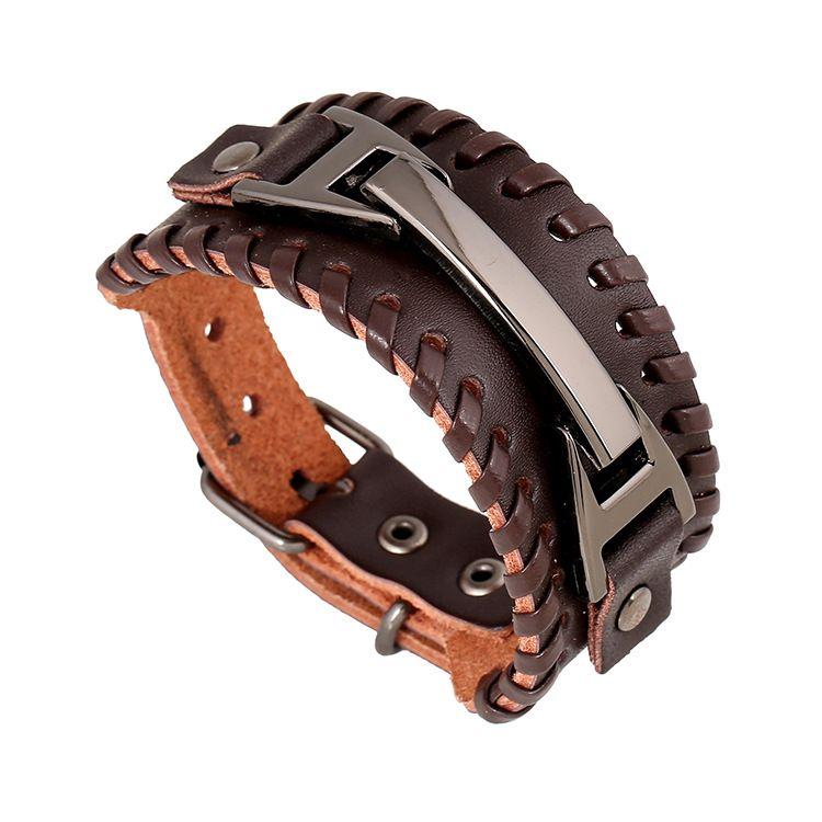 Bijoux en gros fait à la main en cuir tressé Bracelet nid hommes Bracelet