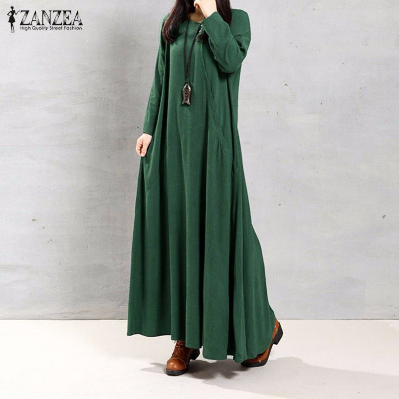 ZANZEA Women Dress Autumn 2018 Ladies O Neck Long Sleeve Pockets Casual Solid Cotton Long Maxi Party Dresses Vintage Vestidos