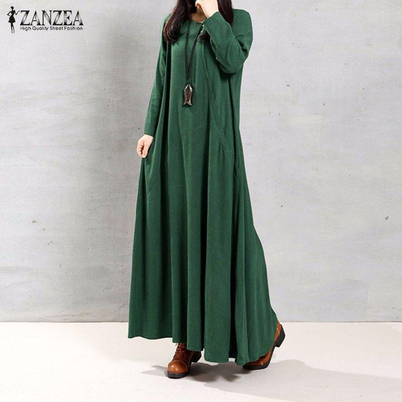 ZANZEA <font><b>Women</b></font> Dress Autumn 2018 Ladies O Neck Long Sleeve Pockets Casual Solid Cotton Long Maxi Party Dresses Vintage Vestidos