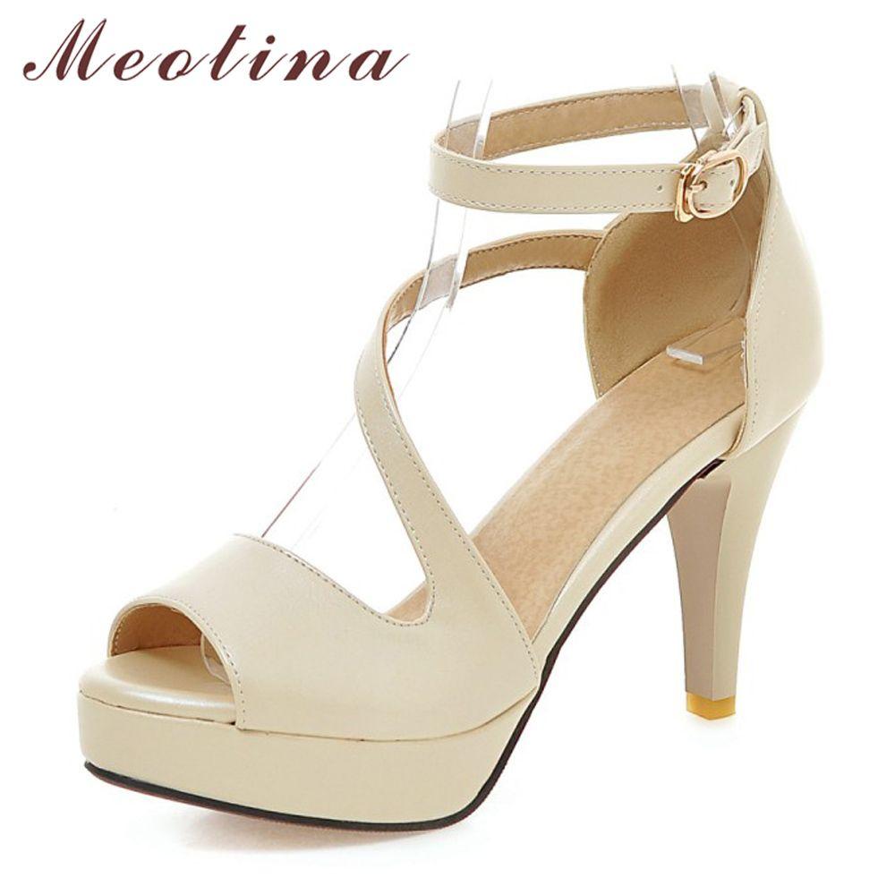 Meotina Shoes Women Summer Shoes Gladiator Sandals High Heels Sandals Open Toe Platform Ladies Shoes Beige White Big Size 9 43