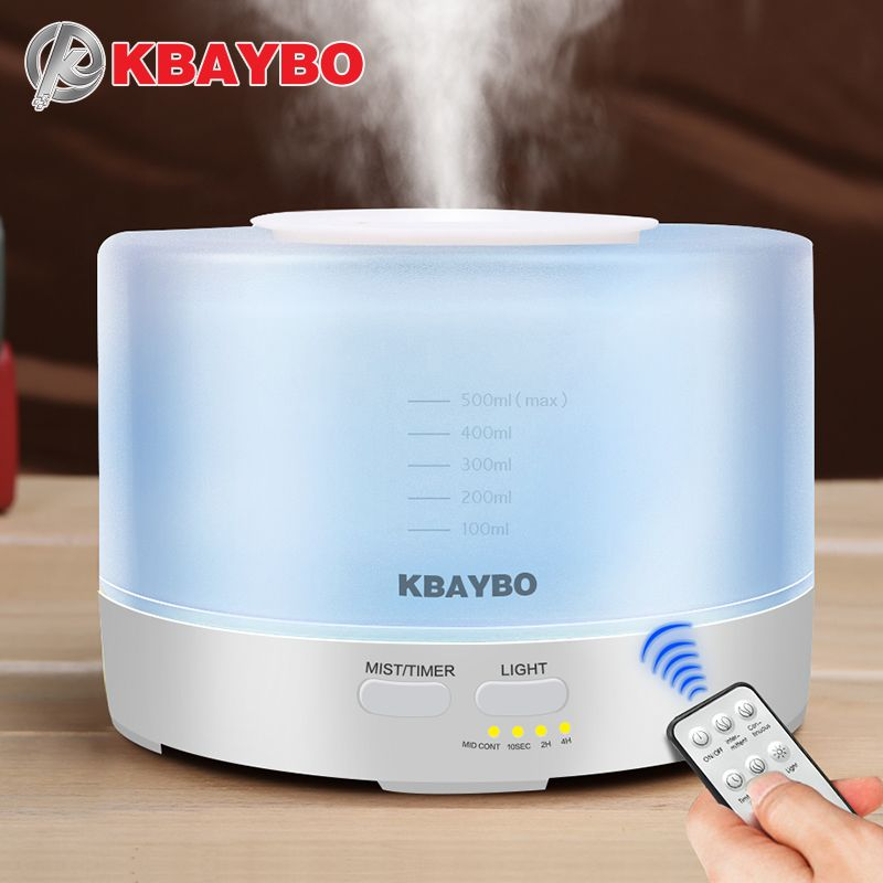 KBAYBO 500ml Remote Control Air Aroma Ultrasonic Humidifier With Color LED Lights Electric Aromatherapy Essential Oil Diffuser