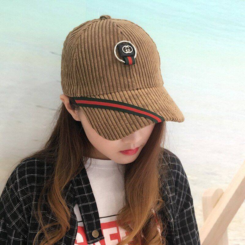 2107 Autumn Winter Corduroy Baseball Cap Fashion All-match Women Hanging Ring Caps Outdoors Female Casual Sunhat Topee