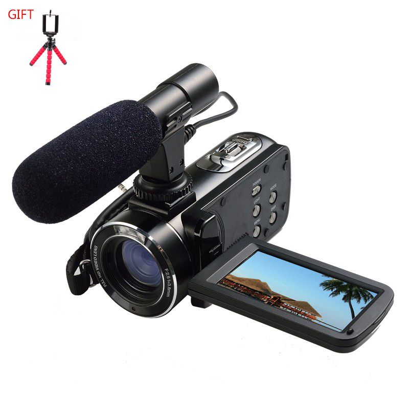 ORDRO HDV-Z20 Reflex Digital Camera Wifi Control Professional Digital Camcorders with External Microphone and a tripod for free