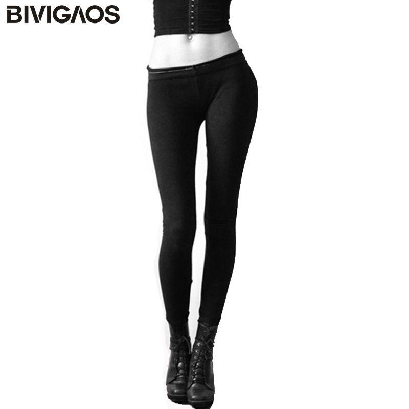 BIVIGAOS Automne Femmes Haute Qualité Élastique Solide Couleur Coton Cachemire Ponçage Chaud Leggings Noir Pantalon Slim Leggings Pantalon