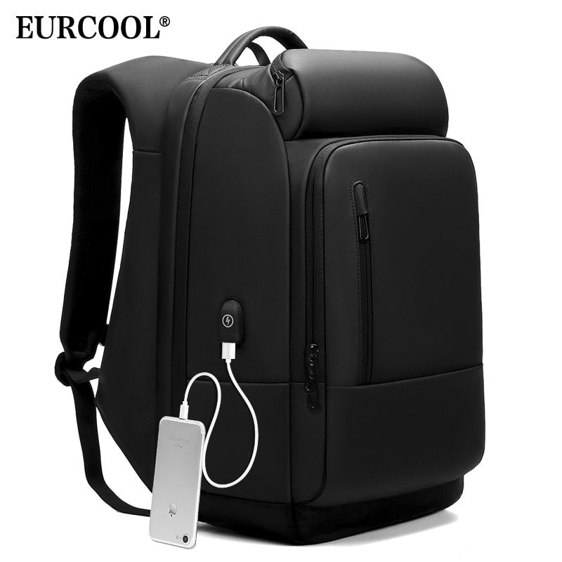 EURCOOL 17 inch Laptop Backpack For Men Water Repellent Functional Rucksack with USB Charging Port Travel Backpacks Male n1755